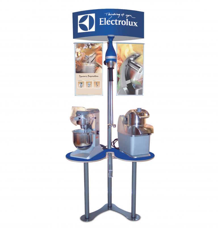 Electrolux espositore da terra, materiali: Legno, metallo e PVC