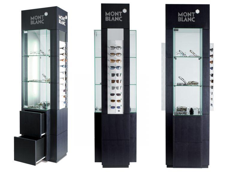 Espositore da terra Totem per occhiali, Materiali: legno, vetro e metallo
